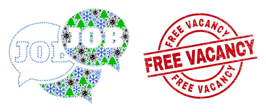 Winter Covid-2019 combination job forum messages, and unclean Free Vacancy red round stamp print. Collage job forum messages is designed from Covid-2019 virus, fir-tree, and ice crystal symbols.