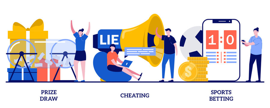 Prize draw, cheating, sports betting concept with tiny people. Internet gambling problem abstract vector illustration set. Lottery awards raffle, unfair victory and fraud metaphor