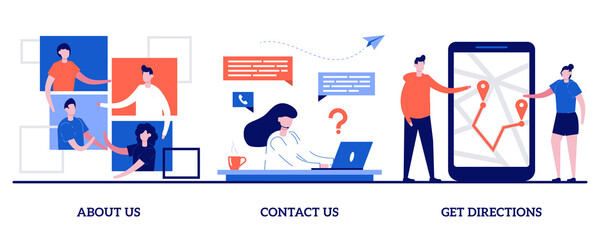 About us, contact us, get directions concept with tiny people. Company information vector illustration set. Website menu, starting web page, business profile, office information, navigation metaphor
