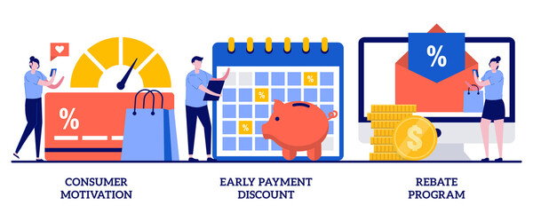 Consumer motivation, early payment discount, rebate program concept with tiny people. Sale growth strategy abstract vector illustration set. Customer loyalty, sales invoice, discount coupon metaphor - fototapety na wymiar