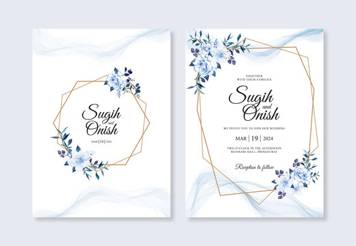 Wedding inviation template with watercolor floral