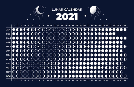 Moon calendar. Astrology 2021 lunar cycle. Celestial astronomy scheme. Phase change in different months of year. Organizer with silhouette or contour round signs. Vector annual schedule