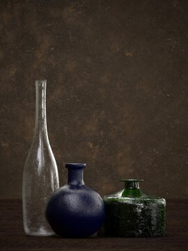 three antique bottles still life photo realistic 3D rendering