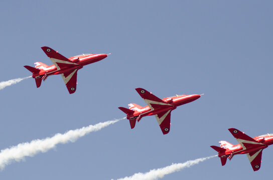 13 May 2021 Oropos Greece: Red Arrows training up the sea