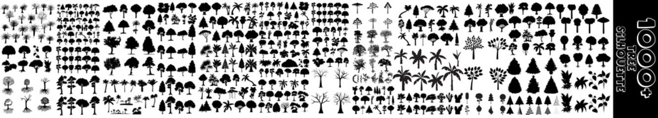 Tree silhouette black vector. Isolated set forest trees on white background. forest silhouettes set in monochrome style isolated vector illustration. Trees, Bushes, Grass. Black and white trees