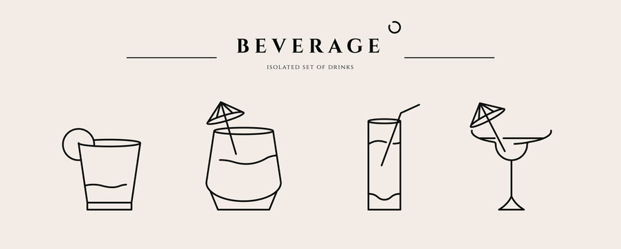 Beverage thin line icon. Minimal summer alcohol cocktail in glass for restaurant and design element. Thin outline and editable stroke. Beverage isolated on beige background. Vector cocktail icon