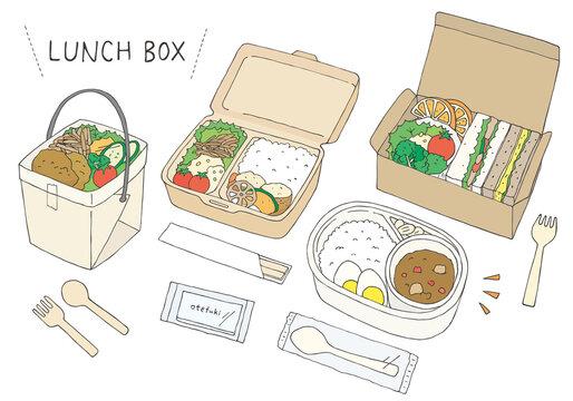 テイクアウト・お弁当にまつわる手描きイラスト(カラー)
