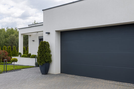 View of the garage door in an elegant suburban home