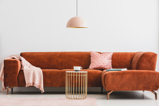 Brown corner sofa and tasteful accessories