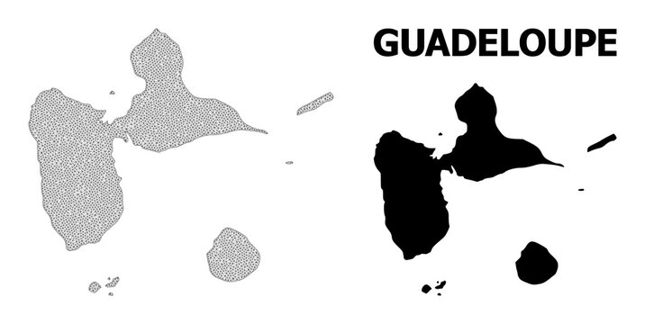 Polygonal mesh map of Guadeloupe in high detail resolution. Mesh lines, triangles and points form map of Guadeloupe.