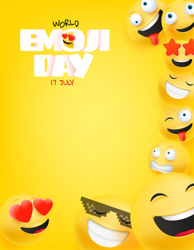 World emoji day greeting card with copy space. Happy emoji day vector greeting card. 17 of july