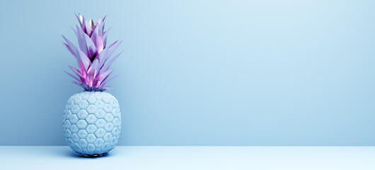 Pineapple painted in pastel colors decoration