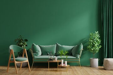 Interior mockup green wall with green sofa and green armchair in living room.