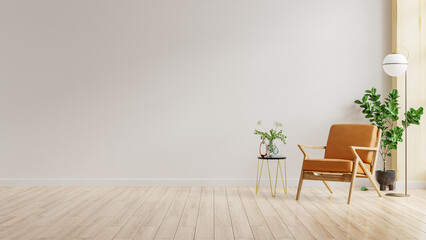 Obraz Living room interior wall mockup in warm tones with leather armchair on white wall background. - fototapety do salonu