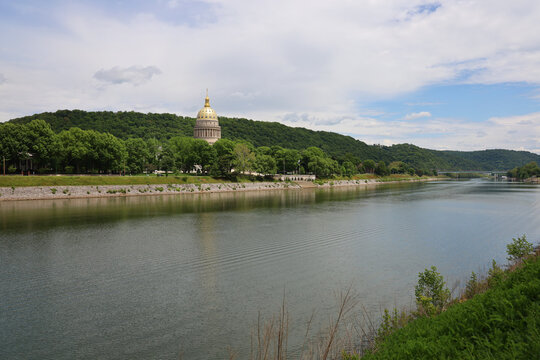 The West Virginia Capitol viewed from across the Kanawha River from the University of Charleston.
