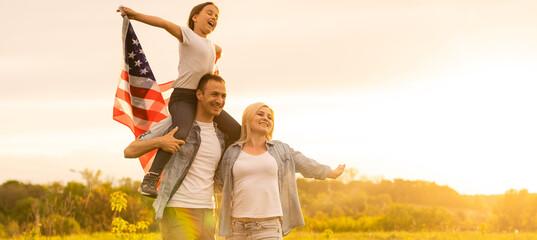 Fototapeta Summer American Family with United States Flag obraz