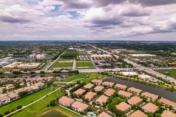 Fototapeta Aerial drone photo of Cooper City Florida obraz
