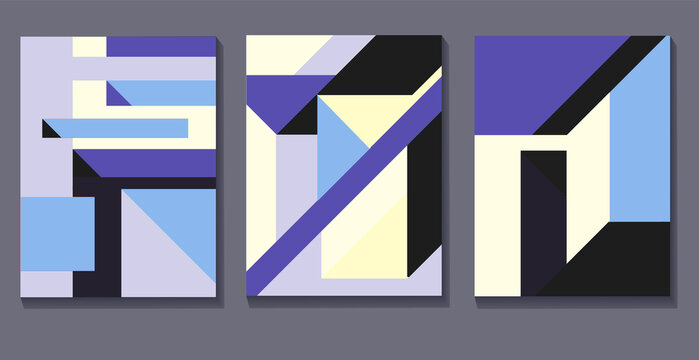 Vector set of Colorful abstract neoplasticism and cubism art style. Painting with primary color in Mondrian style with straight and regular line. For print and wall art.