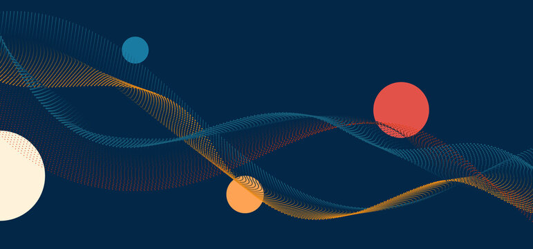 Abstract particles dot wave lines with circles elements on blue background