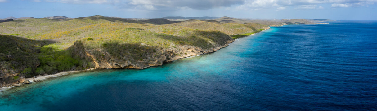 Aerial view above scenery of Curacao, Caribbean with ocean, coast and beach