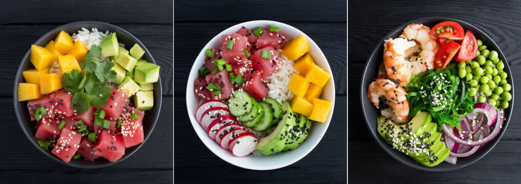 Collage of poke salad. Poke salad in the bowl on the black wooden background. Top view. Close-up.