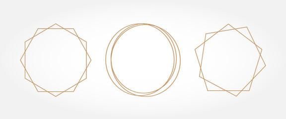 Obraz Gold geometry. Frames for text. Wedding invitation. Circle. - fototapety do salonu