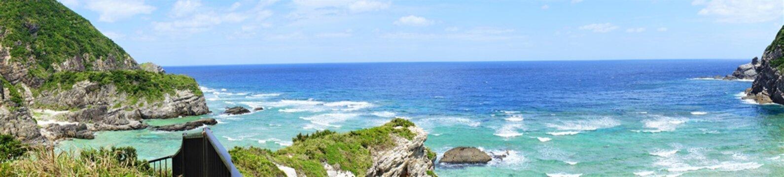 Chishi observation deck in Zamami island, Okinawa, Japan - 日本 沖縄 座間味島 チシ展望台 パノラマ