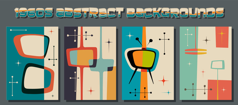 1960s Abstract Backgrounds, Mid Century Modern Shapes and Retro Colors