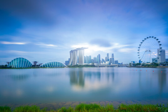 Sky lines and city views reflected across the water on Singapore's Marina Bay.