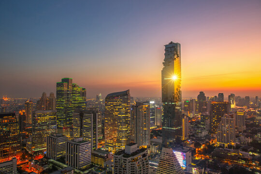 The bird's eye view  of  sunset sky at KING POWER MAHANAKHON buildings ,it is the new highest building in Bangkok city.