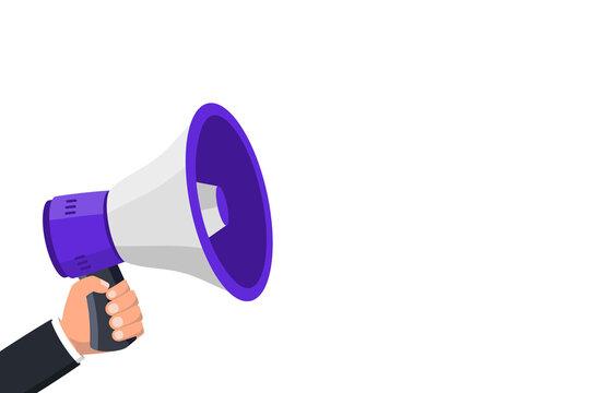 Hand hold megaphone with copy space . Megaphone. Loudspeaker, speaker, bullhorn alert. Advertising and business promotion symbol, social media marketing concept. Advertising through speakers