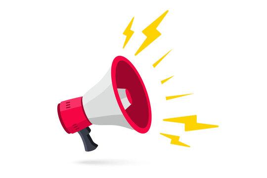 Megaphone. Loudspeaker, speaker, bullhorn alert. Vector illustration in flat style. Advertising and business promotion symbol