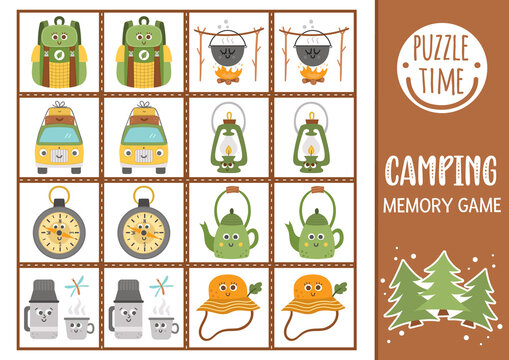 Vector summer camp memory game cards with cute smiling kawaii equipment. Camping matching activity. Remember and find correct card. Simple wildlife printable worksheet for kids. .