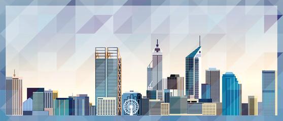 Obraz Perth skyline vector colorful poster on beautiful triangular texture background - fototapety do salonu