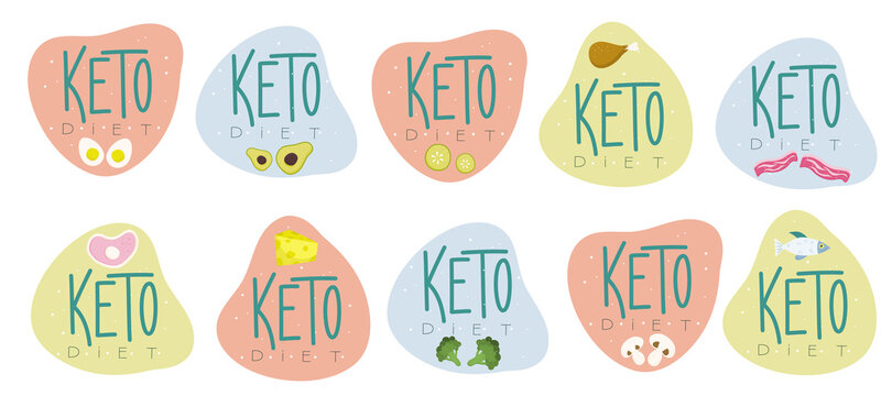 An emblem keto diet. The keto logo is friendly with food. Mushrooms, fish, meat, broccoli, lettering. Vector illustration of proper nutrition for weight loss and health.