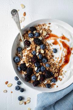 Greek yogurt with jam and granola