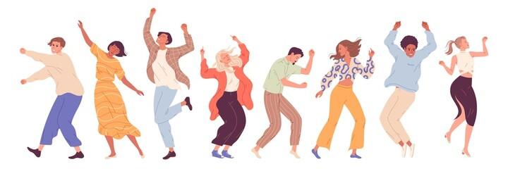 Fototapeta Group of young happy dancing people, dancing characters. Dance party, disco obraz