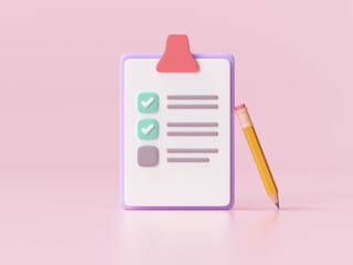 Fototapeta White clipboard with checklist on pink background. 3d render illustration. obraz