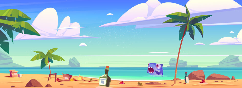 Dirty ocean beach with trash and scared shark in water. Concept of ecology problems and ocean pollution. Vector cartoon illustration of tropical sea sand shore with garbage, bottles and boxes