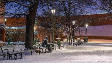 Park planty w krakowie w zimie - śnieg na alejkach i ławkach - fototapety na wymiar