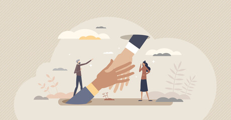 Obraz Support and help with advice or solution in job trouble tiny person concept. Giving hand in business difficulties from partners vector illustration. Assistance and unity as strong partnership work. - fototapety do salonu