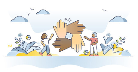 Fototapeta Solidarity and unity as connect multiracial people hands outline concept. Teamwork and social connection or bonding as international collaboration and support vector illustration. Trust and care scene obraz