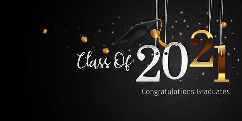 Fototapeta 2021 Graduation with Cap Vector. Class of 2021 Year Graduation Banner. Banner for Graduation Greeting Card. Lettering Class of 2021 for Greeting and Invitation Card.  obraz