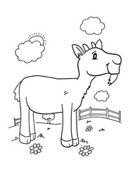 Farm Goat Coloring Book Page Vector Illustration