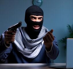 Terrorist burglar with gun working at computer - fototapety na wymiar