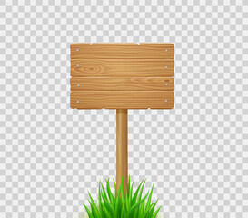 Wooden board on post in green grass. Signboard from wood planks on lawn or field. Vector realistic old timber signpost for farm, country or rural scene isolated on transparent background