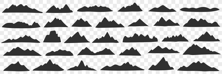 Fototapeta Mountains range silhouettes doodle set. Collection of hand drawn various black silhouettes of natural hills mountains in rows isolated on transparent background  obraz