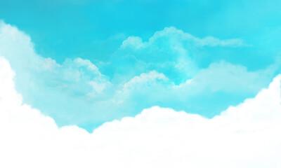 夏空の風景イラスト(シアンブルー)