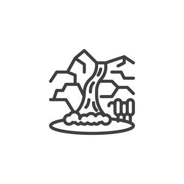 Mountain waterfall line icon