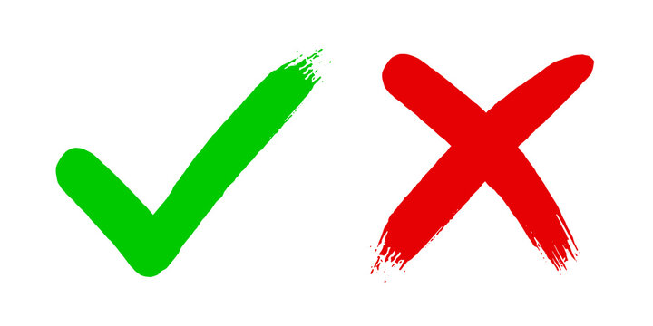 Cross x and tick v OK check mark vector illustration isolated on white background. Two dirty grunge hand drawn brush strokes Check mark symbol NO and YES buttons for vote in checkbox for web.